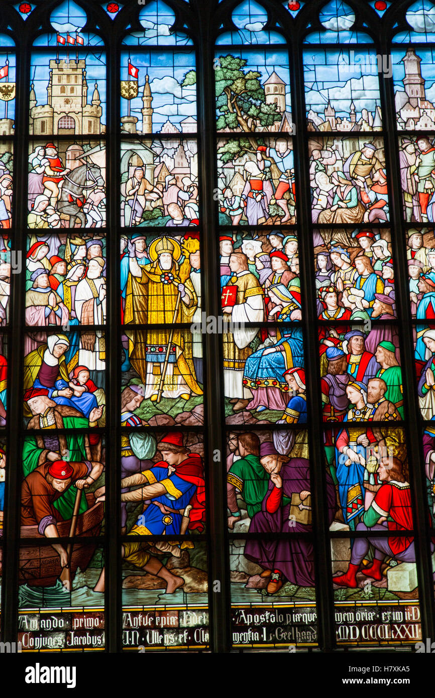 Stained glass window of Cathedral of Our Lady, Antwerp, Flanders, Belgium Stock Photo