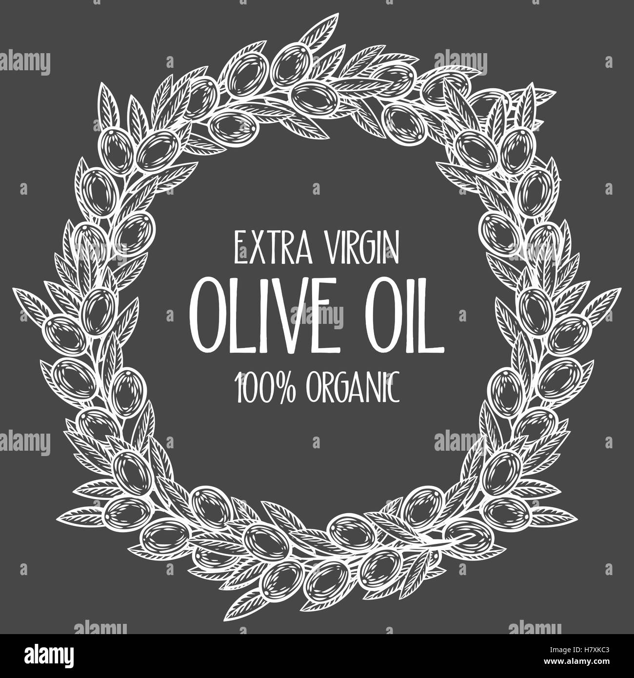 Olive laurel wreath and branch hand drawn vector illustration. Leave and berry round frame isolated on black background. - Stock Image
