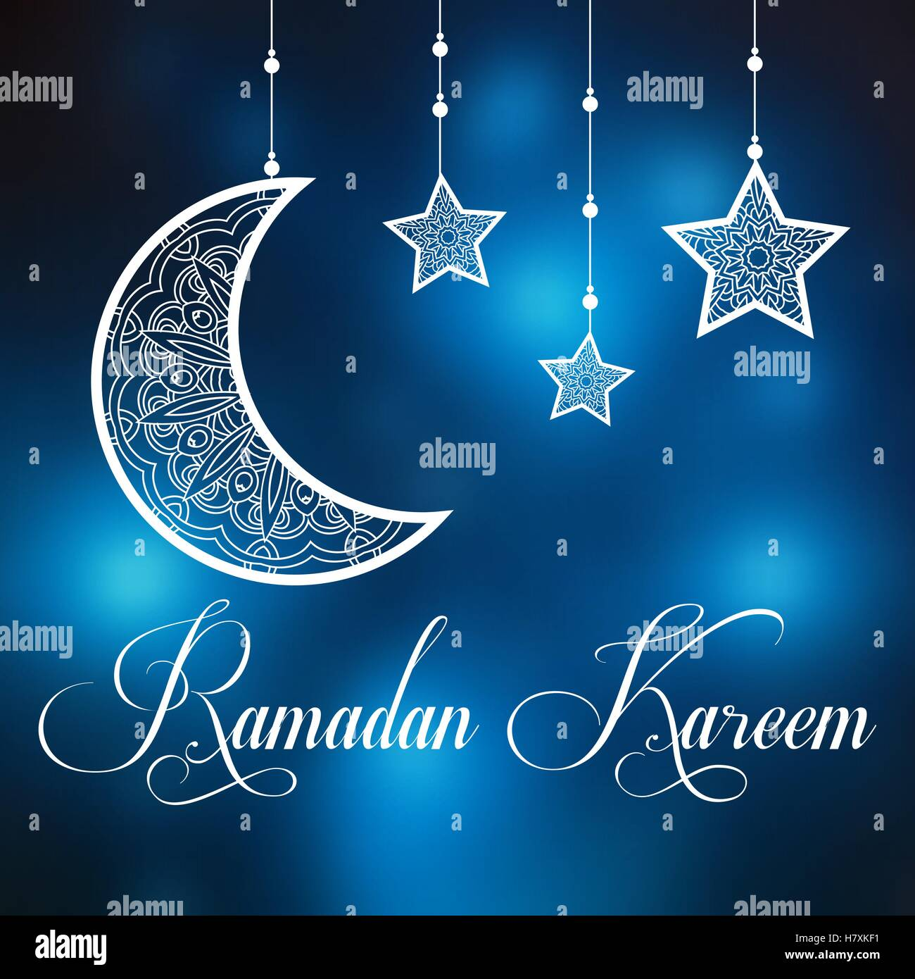 Ramadan kareem background with ornamental moon and stars greeting ramadan kareem background with ornamental moon and stars greeting card invitation for muslim community holy month on blurred m4hsunfo