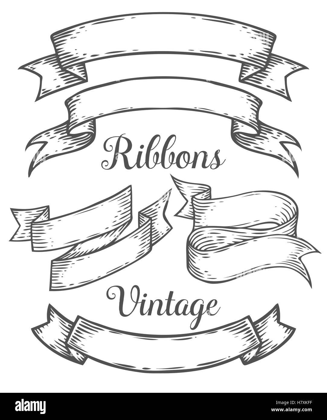 ribbon retro vintage hand drawn illustration vector set sketch