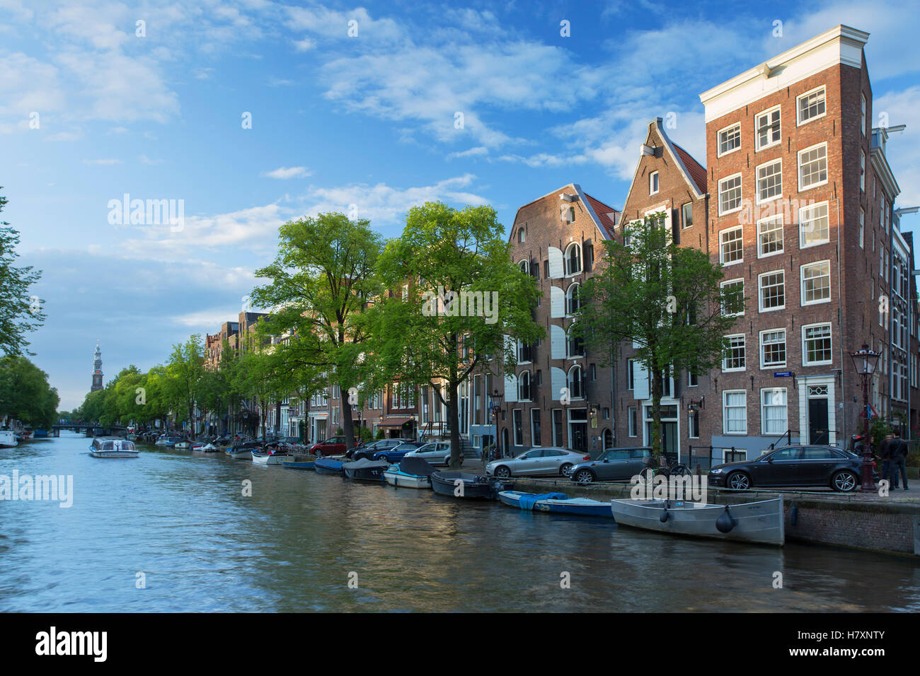 Houses along Prinsengracht canal, Amsterdam, Netherlands - Stock Image