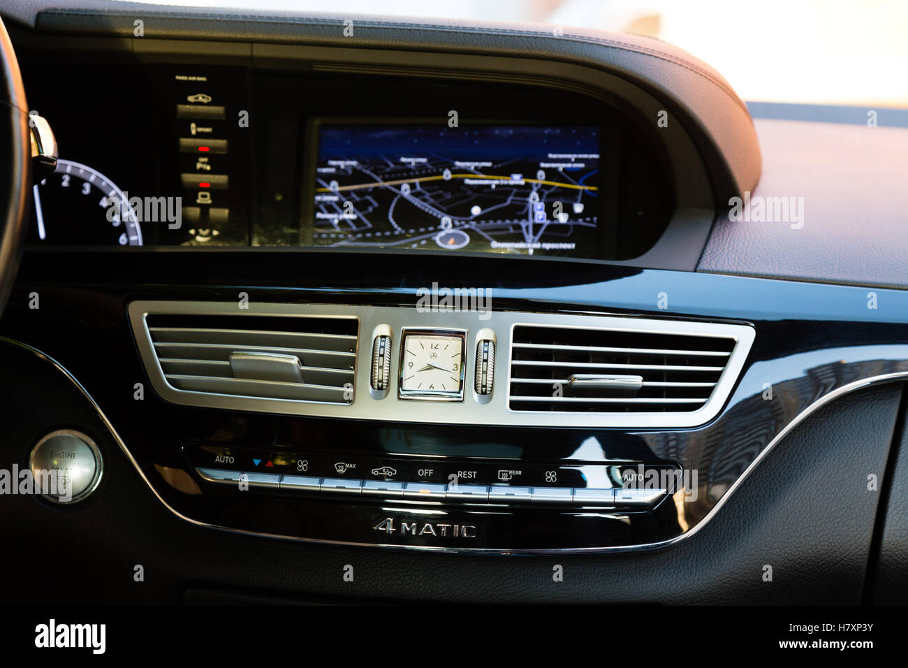 Interior (Designo) of used Mercedes-Benz S-Class S350 long (W221) car stand on a street in Mytishchi District in - Stock Image
