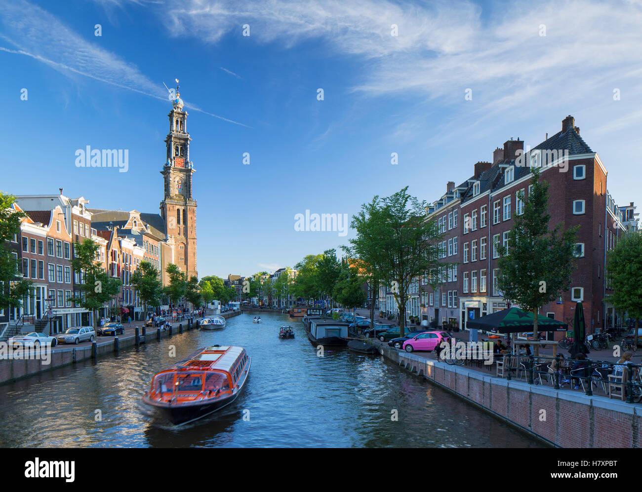 Prinsengracht canal and Westerkerk, Amsterdam, Netherlands Stock Photo