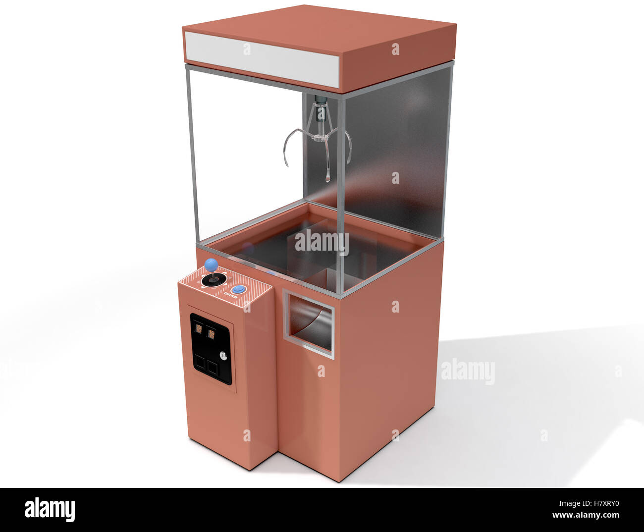A 3D render of an empty arcade type claw grabber game on an isolated white background Stock Photo
