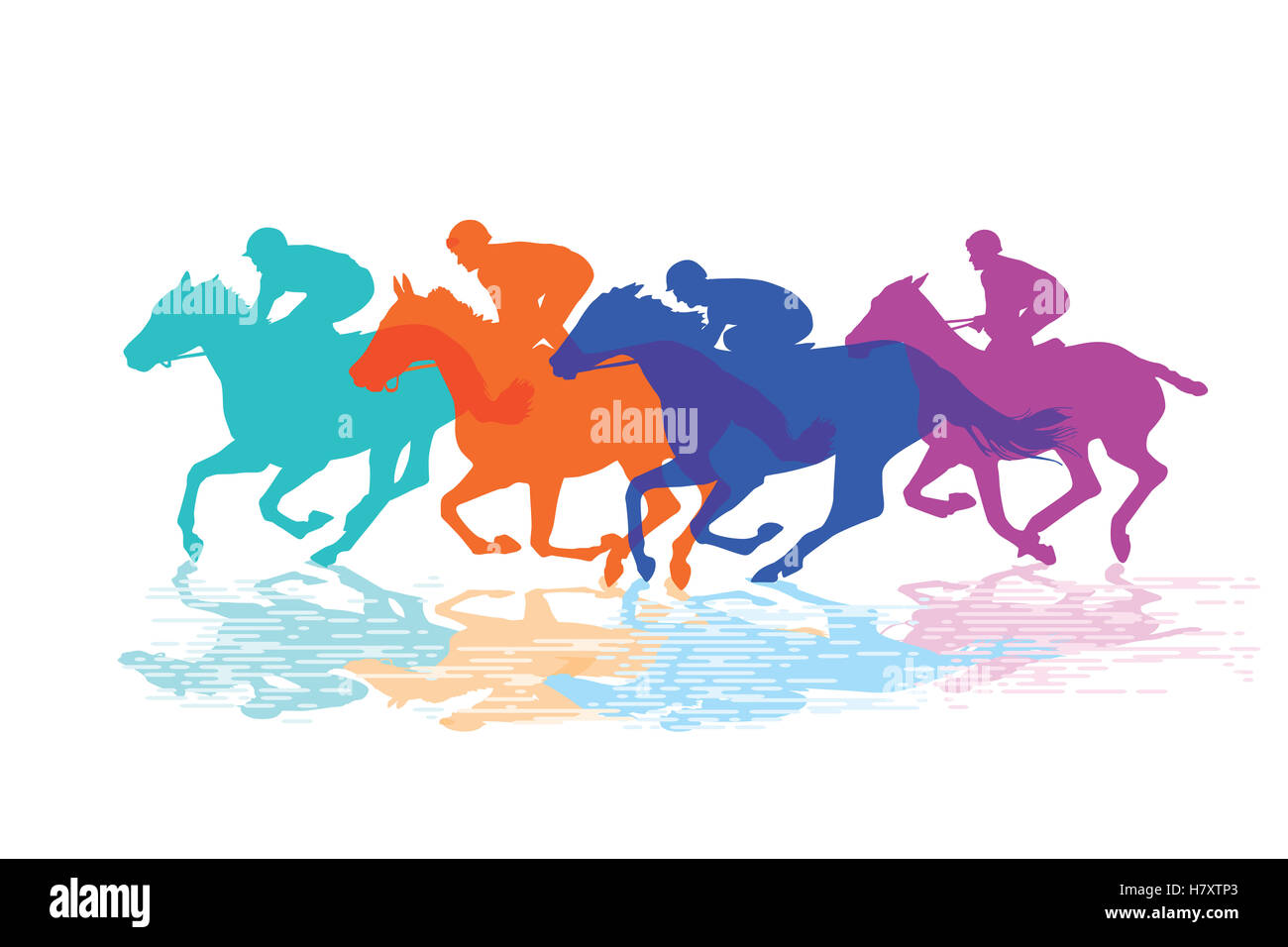 Horse racing, racehorses with jockeys - Stock Image