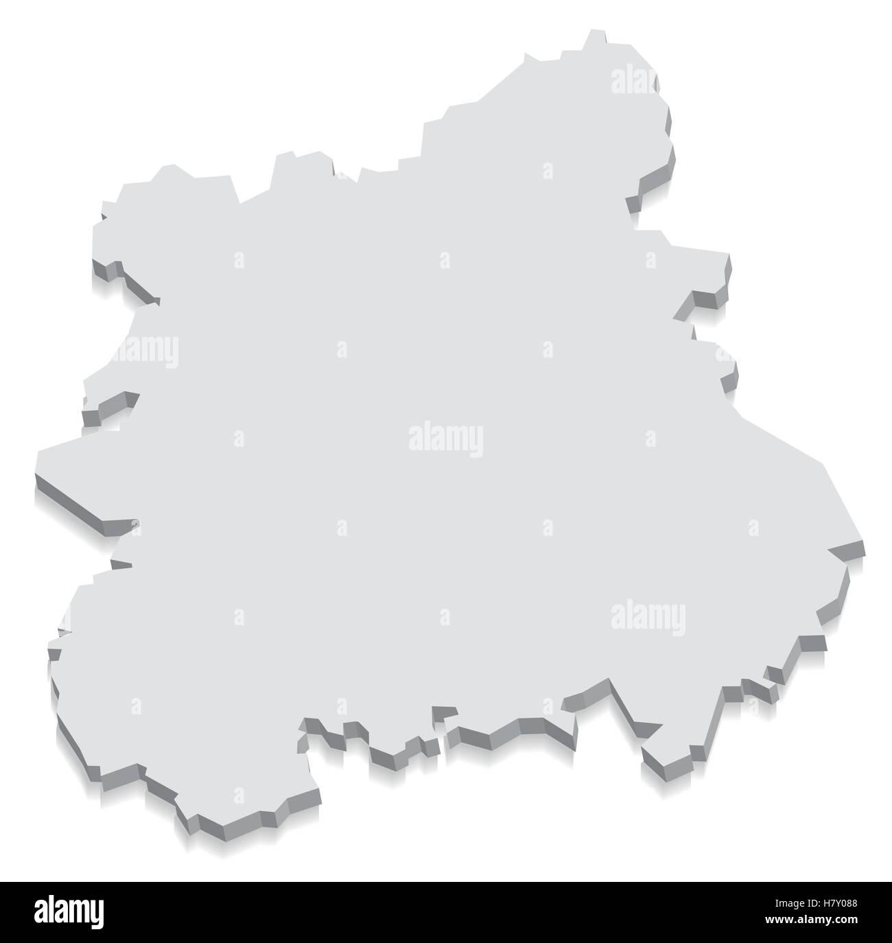 West Midlands England Map Grey 3d Stock Vector Art Illustration