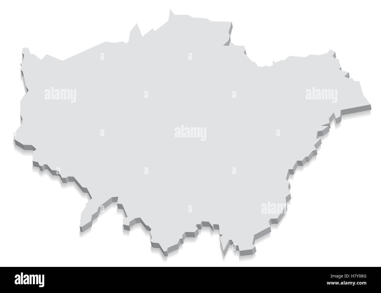 London England Map grey 3D Stock