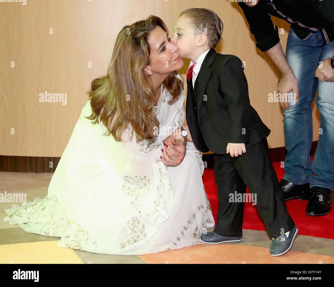 Princess Haya Bint Al Hussein Meets A Young Syrian Boy Called