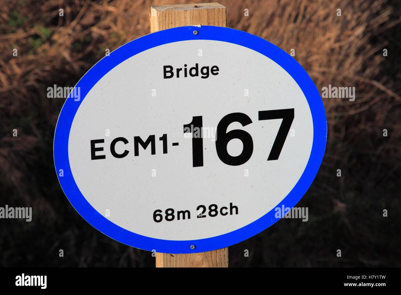 ECML bridge identification sign, East Coast Main Line Railway, Peterborough, Cambridgeshire, England, UK - Stock Image