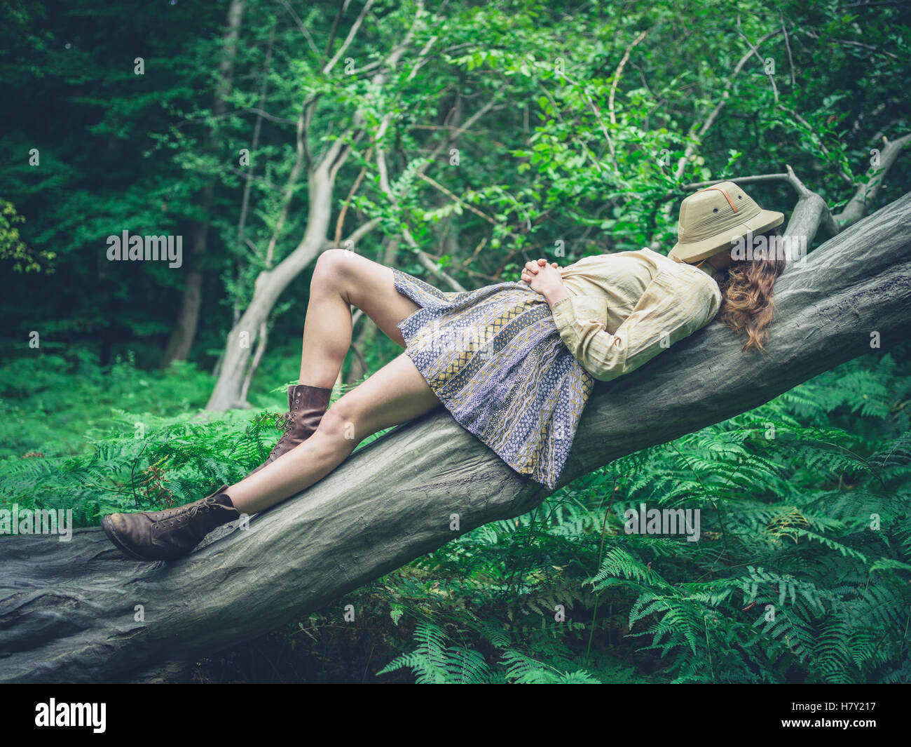A young woman is lying on a fallen tree in the forest surrounded by ferns with a safari hat covering her face - Stock Image
