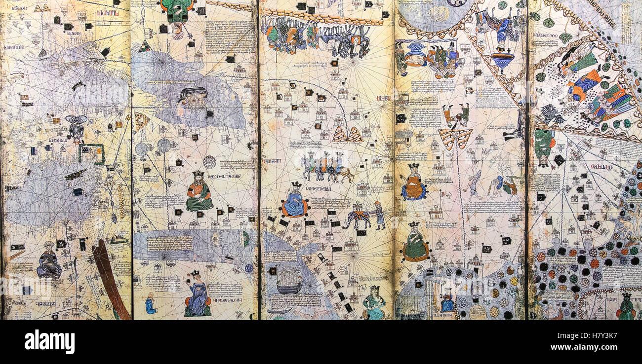 Reproduction of Catalan Atlas by Abraham Cresques circa 1375 Stock Photo