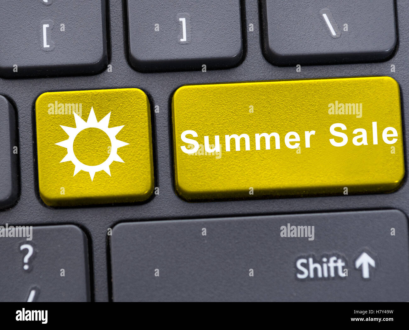 Computer Keyboard In Close Up With Summer Sale Text And Sun Symbol