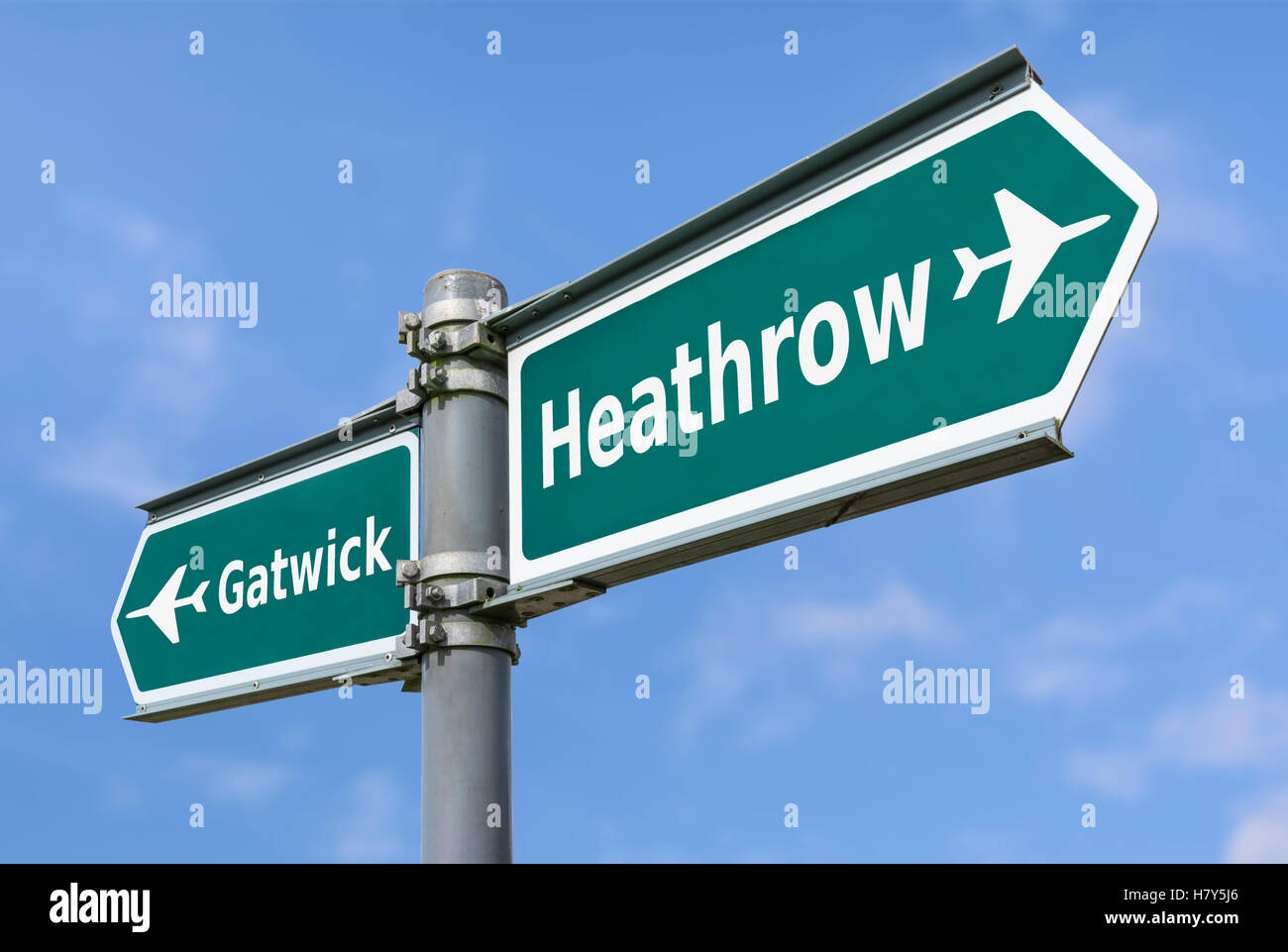 Gatwick or Heathrow UK airports direction sign. - Stock Image