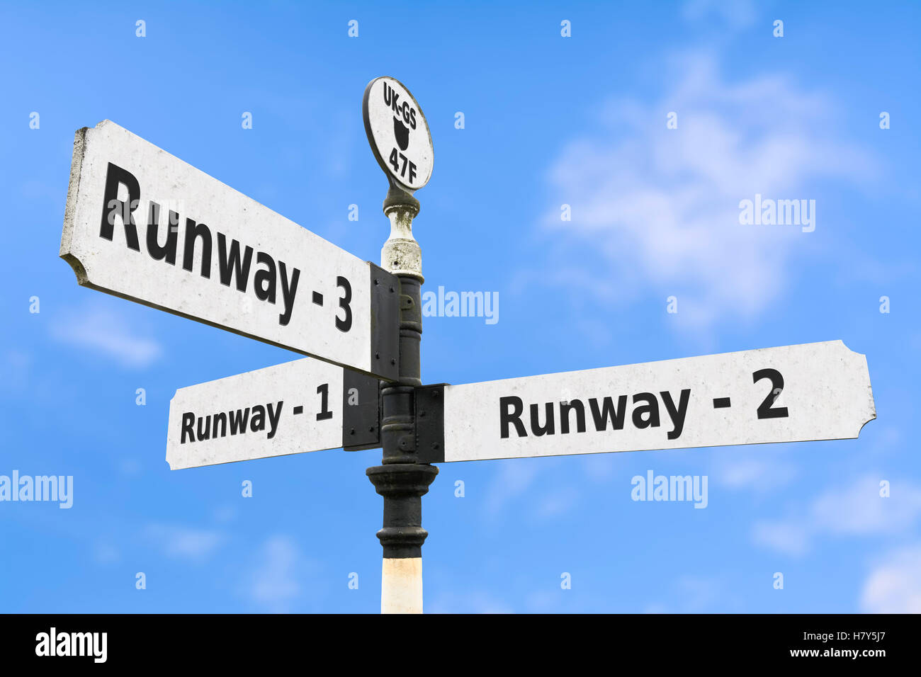 Expansion of airport runways concept sign. - Stock Image