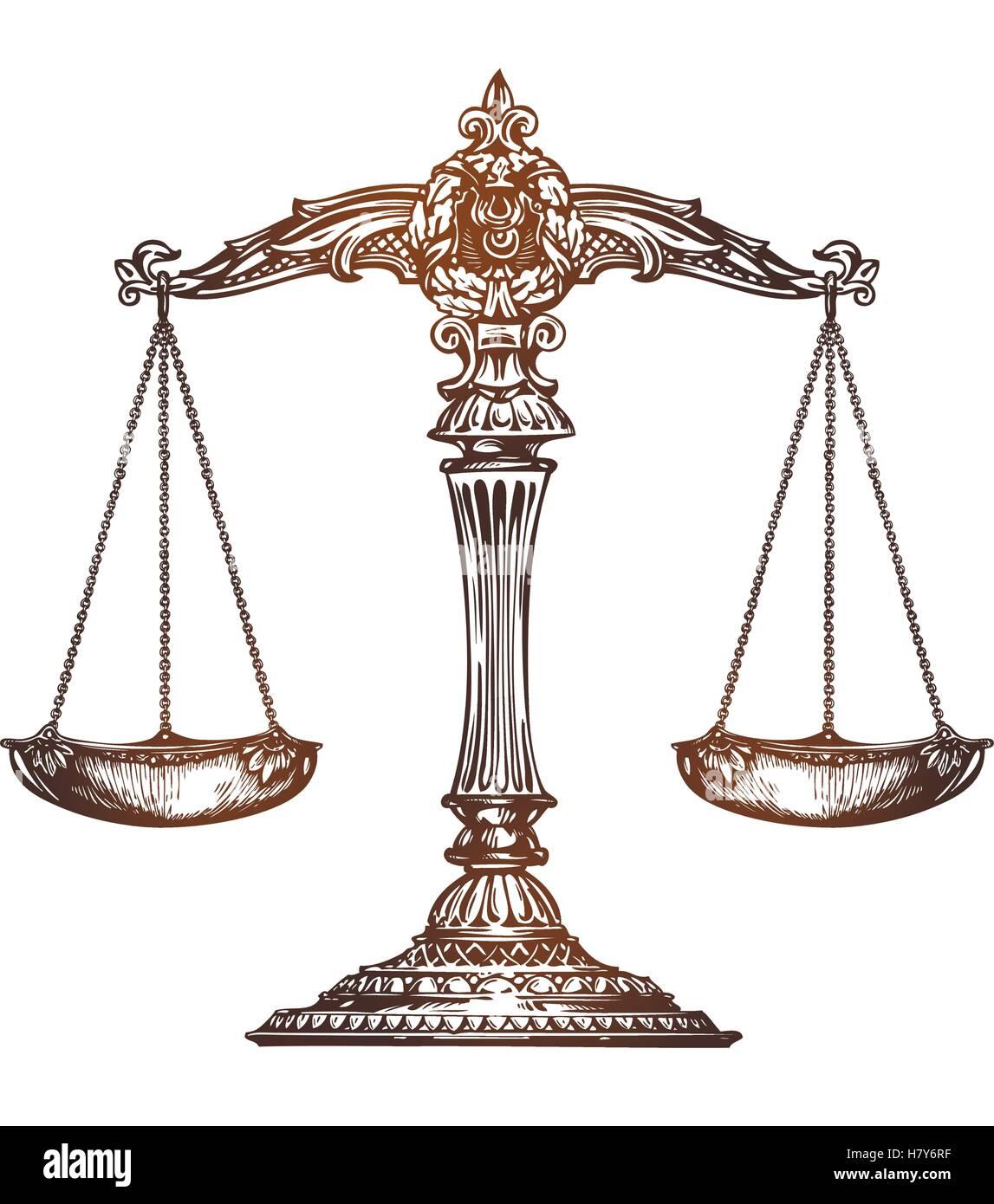 Scales of justice. Vintage sketch vector - Stock Vector