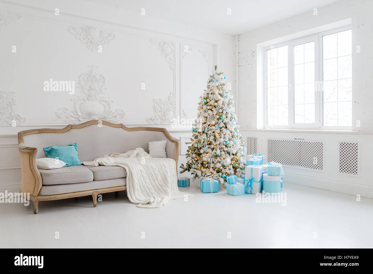 Stylish Christmas interior with an elegant sofa. Comfort home Stock ...