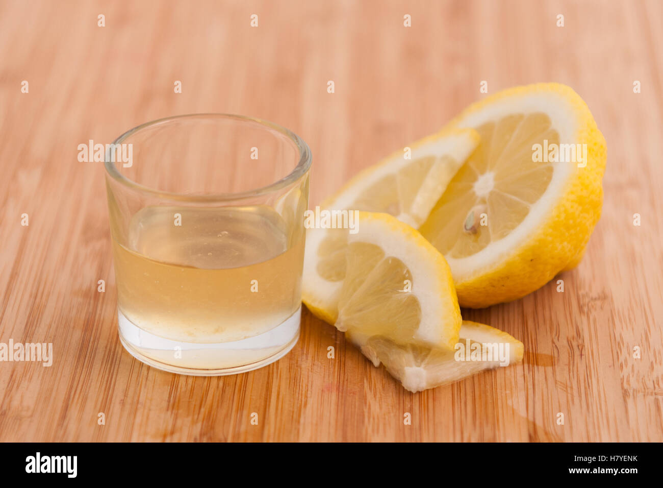 Natural flavored liquid for pastry of lemon - Stock Image