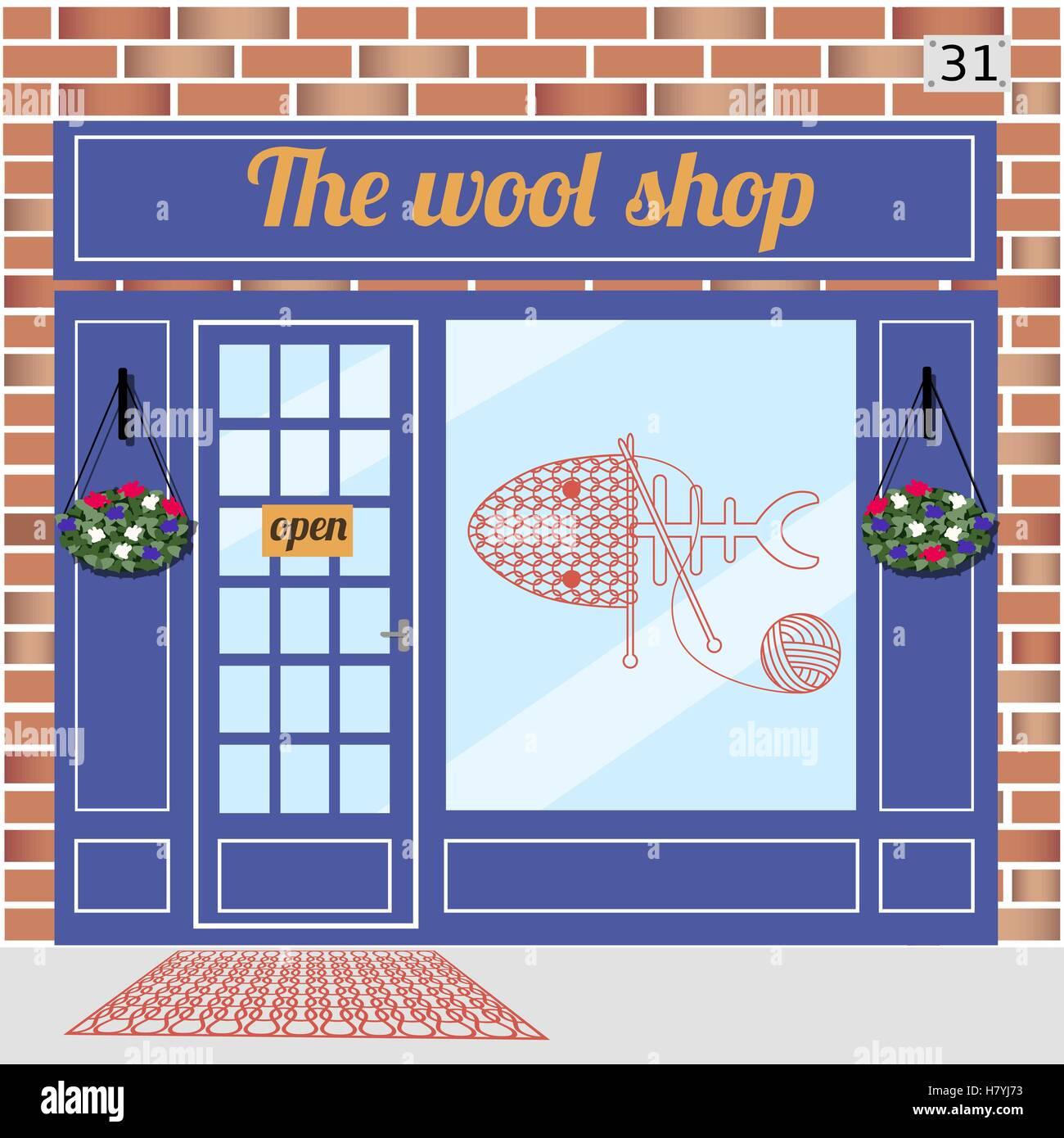 Wool shop building - Stock Vector