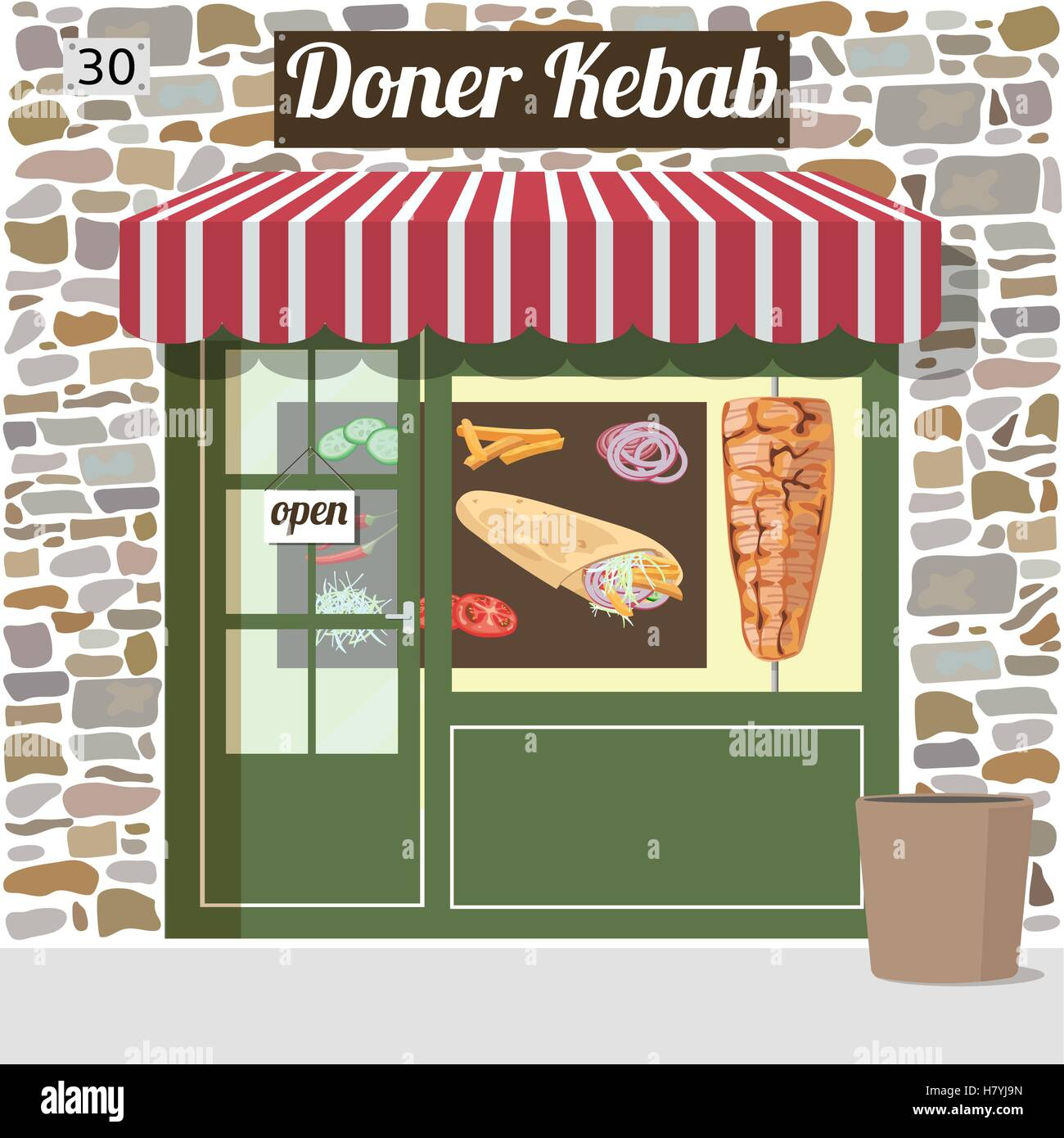 doner kebab fast food cafe - Stock Vector