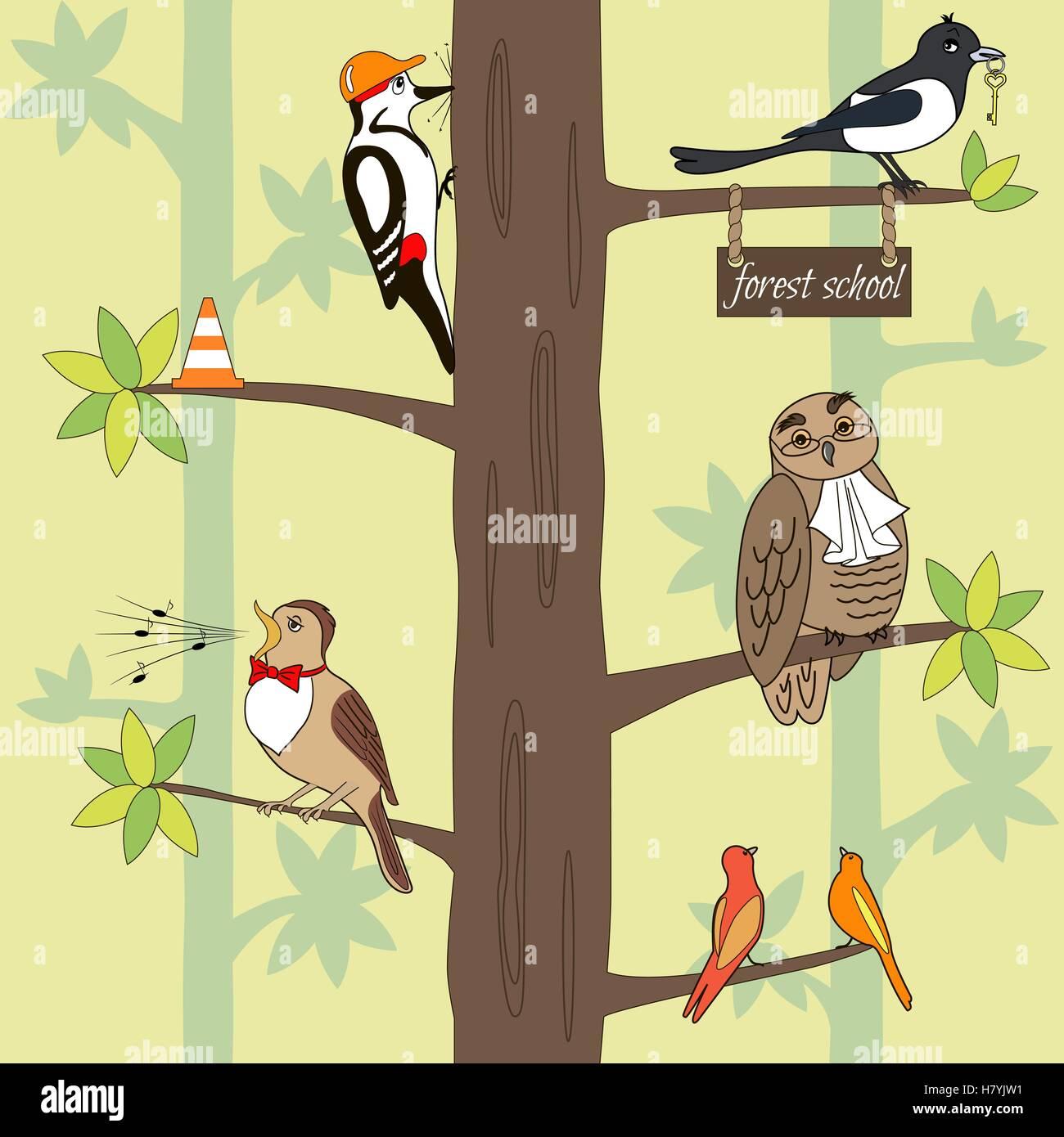 Seamless Pattern Cartoon Birds On A Tree Owl Woodpecker Magpie Nightingale