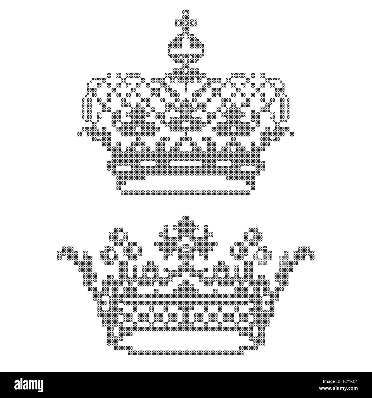 Design elements for cross-stitch embroidery. Crowns. Vector illustration. - Stock Vector