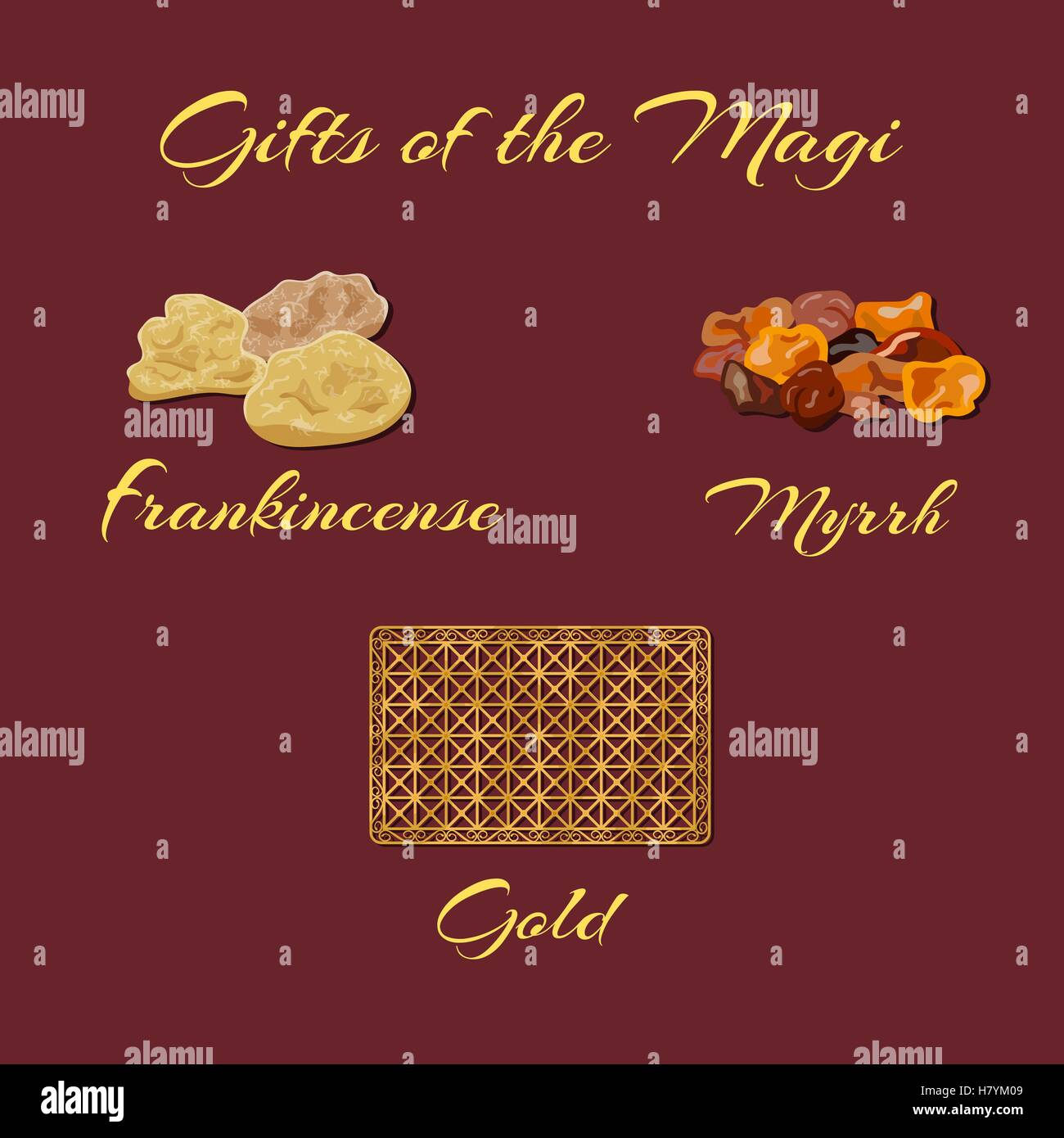 gold frankincense and myrrh gifts of the magi vector illustration stock - Gold Frankincense And Myrrh Christmas Gifts