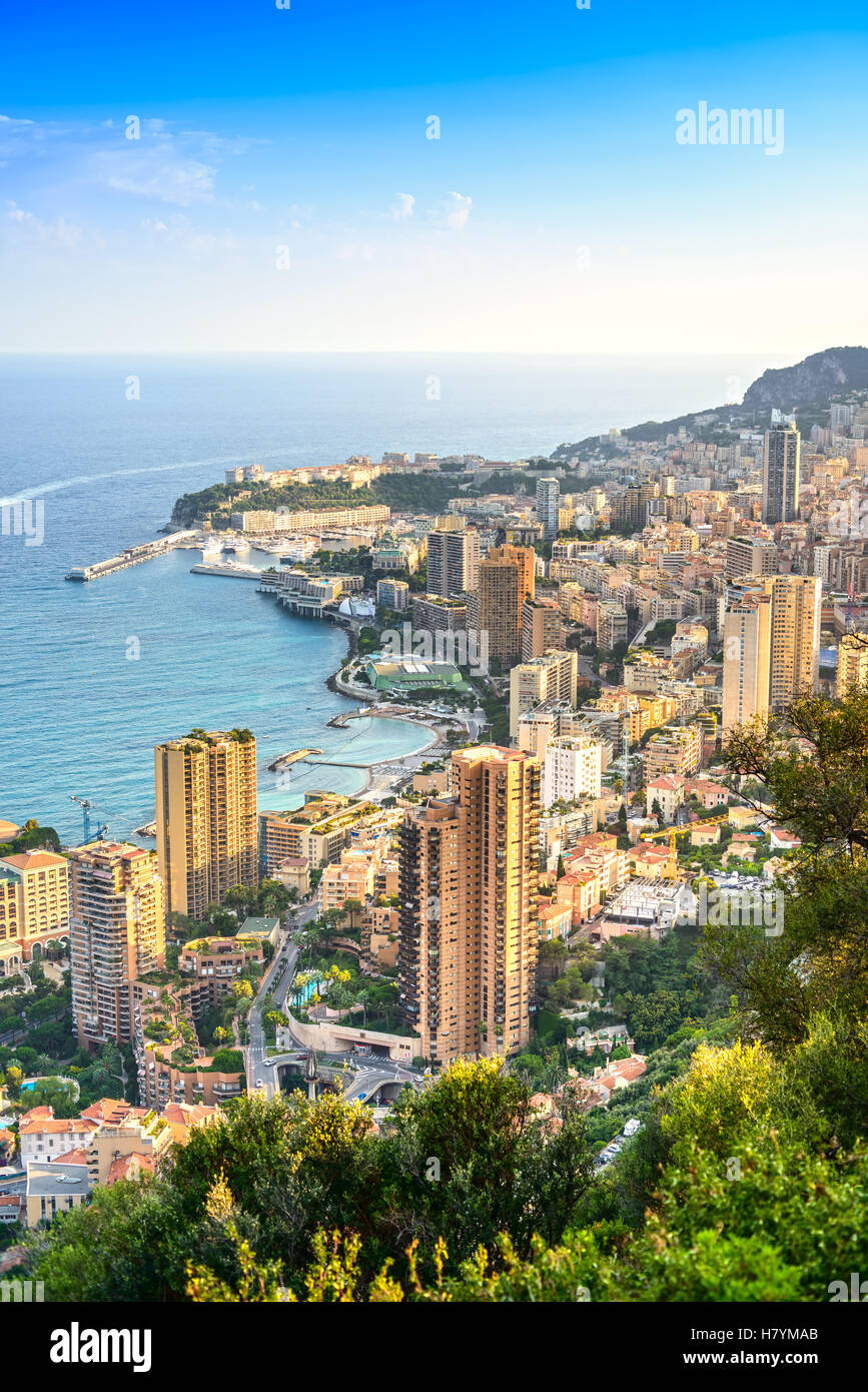 Monaco Montecarlo cityscape, principality aerial view. Skyscrapers, mountains and marina. Azure coast. France, Europe. - Stock Image