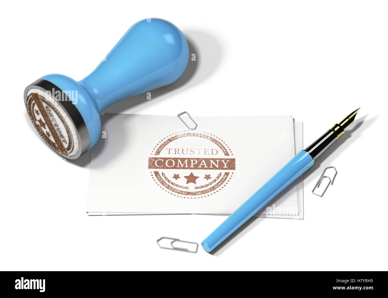 3D illustration of a rubber stamp a fountain pen and business cards ...