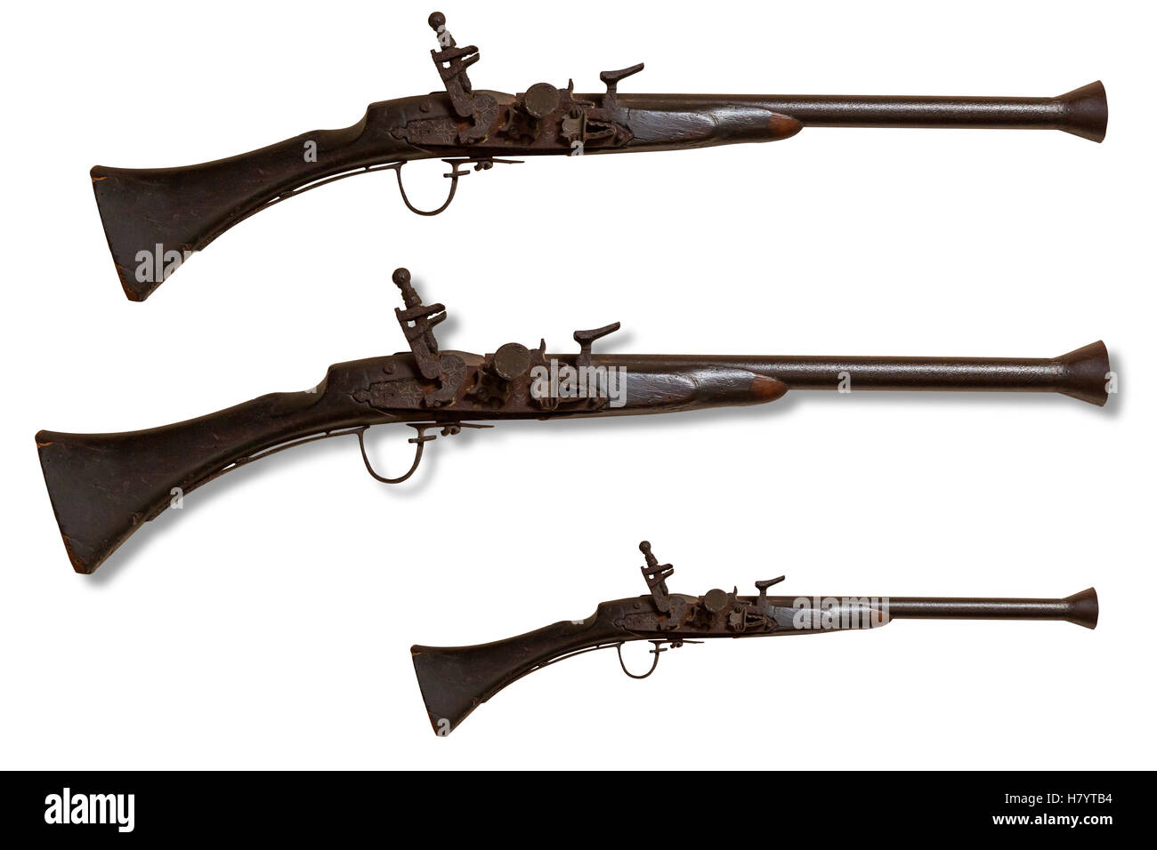 Hunting gun. Close up photo of isolated antique hunting gun on a white background. - Stock Image