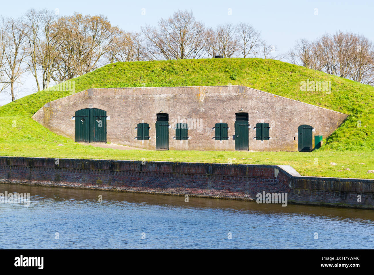 Barrack on ravelin Oranje-Promers in old fortified town of Naarden, North Holland, Netherlands - Stock Image