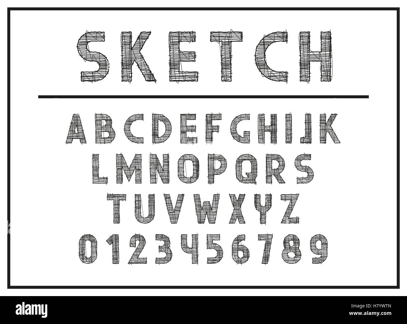 Sketch Font And Abc Letters Print Typography Vector Illustration Retro Type Vintage Alphabet English Lowercase Lett