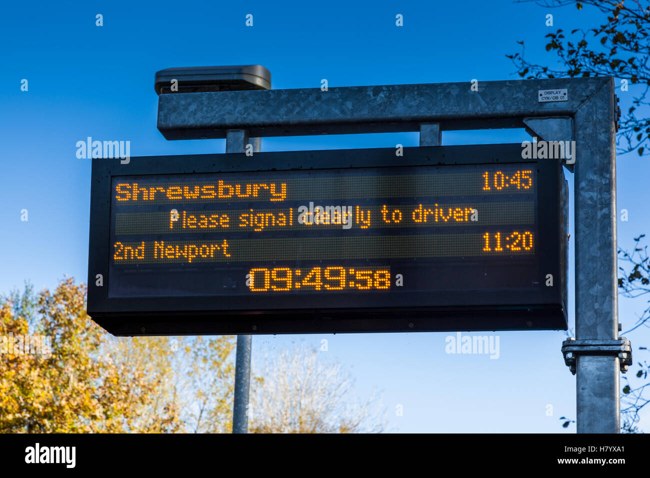 Digital display of the Shrewsbury and Newport train services on the Heart of Wales line at Cynghordy. Carmarthenshire, - Stock Image