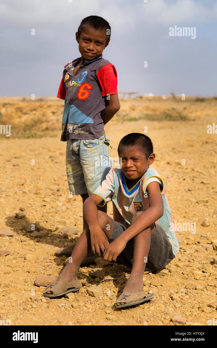 Wayuu or Guajiro boys, indigenous people, Uribia, Colombia - Stock Image