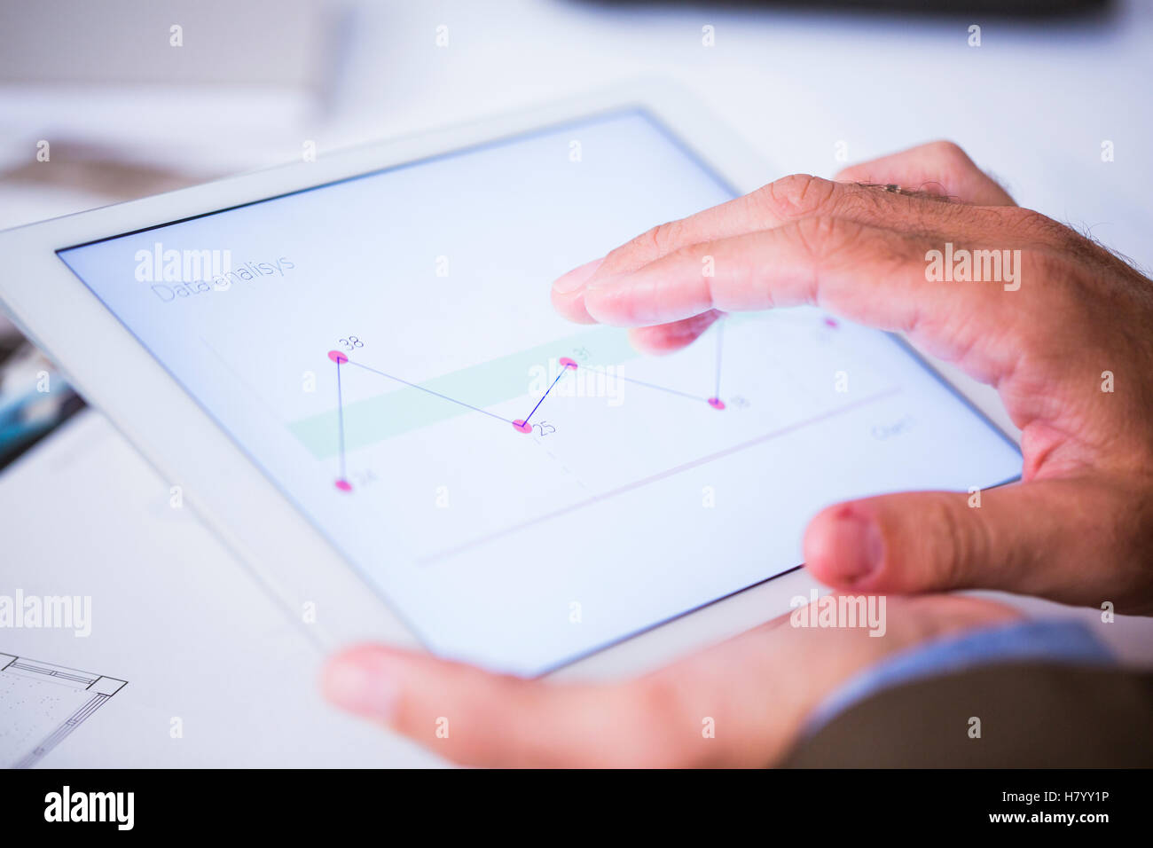 Man working with tablet - Stock Image