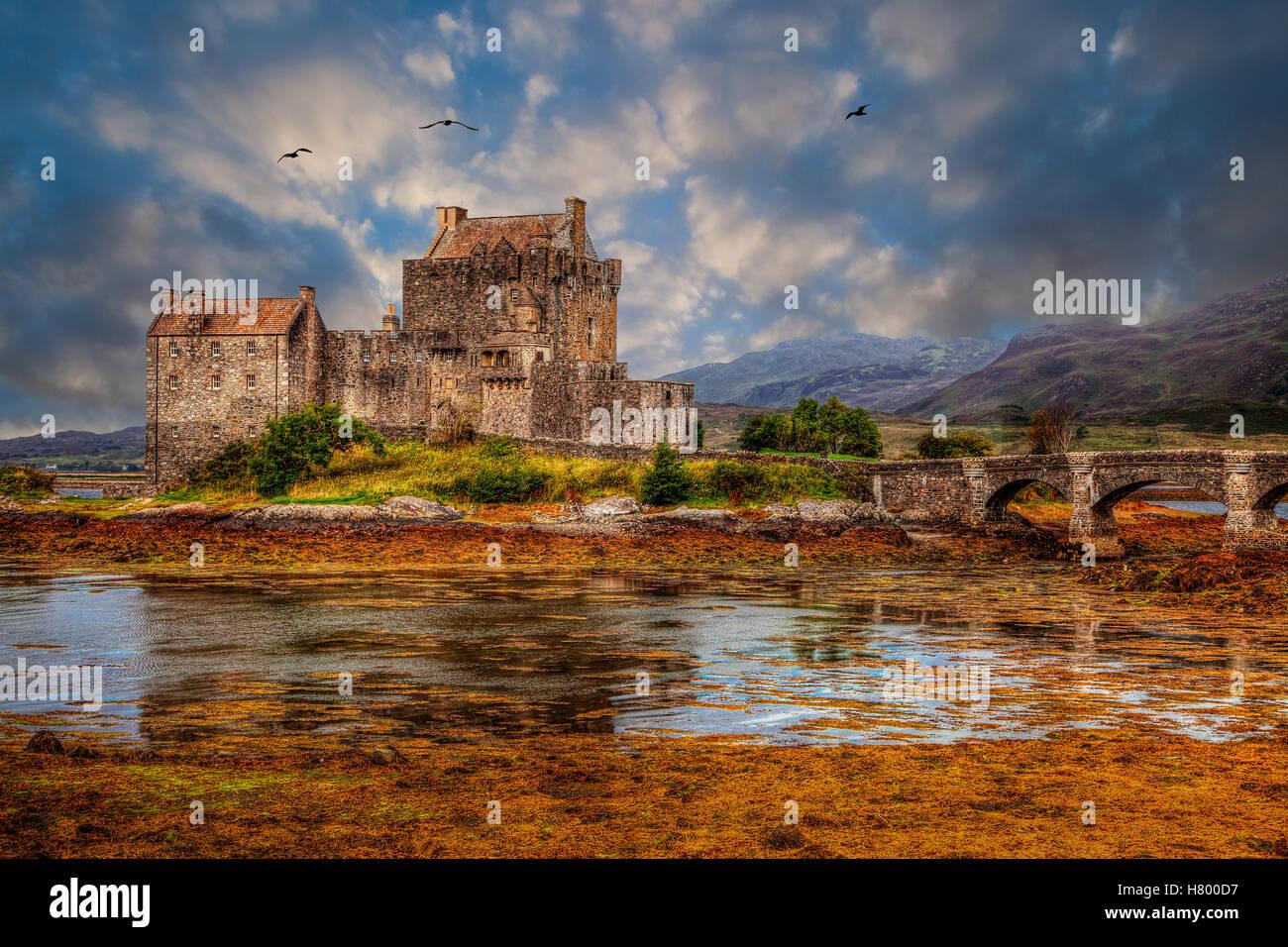 Eilean Donan Castle on Loch Duic In Scotland UK - Stock Image