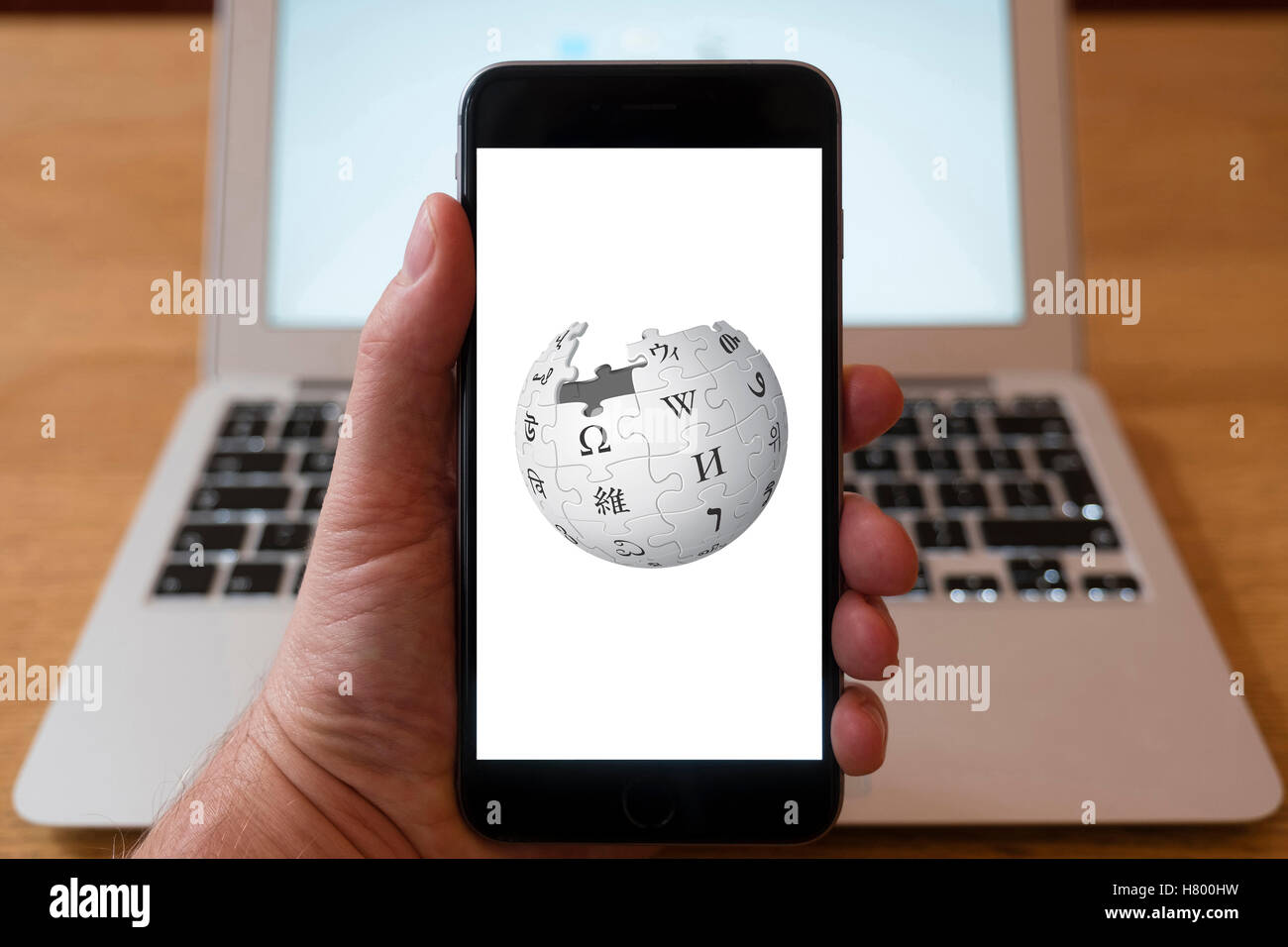 Using iPhone smartphone to display logo of Wikipedia the online encyclopaedia - Stock Image