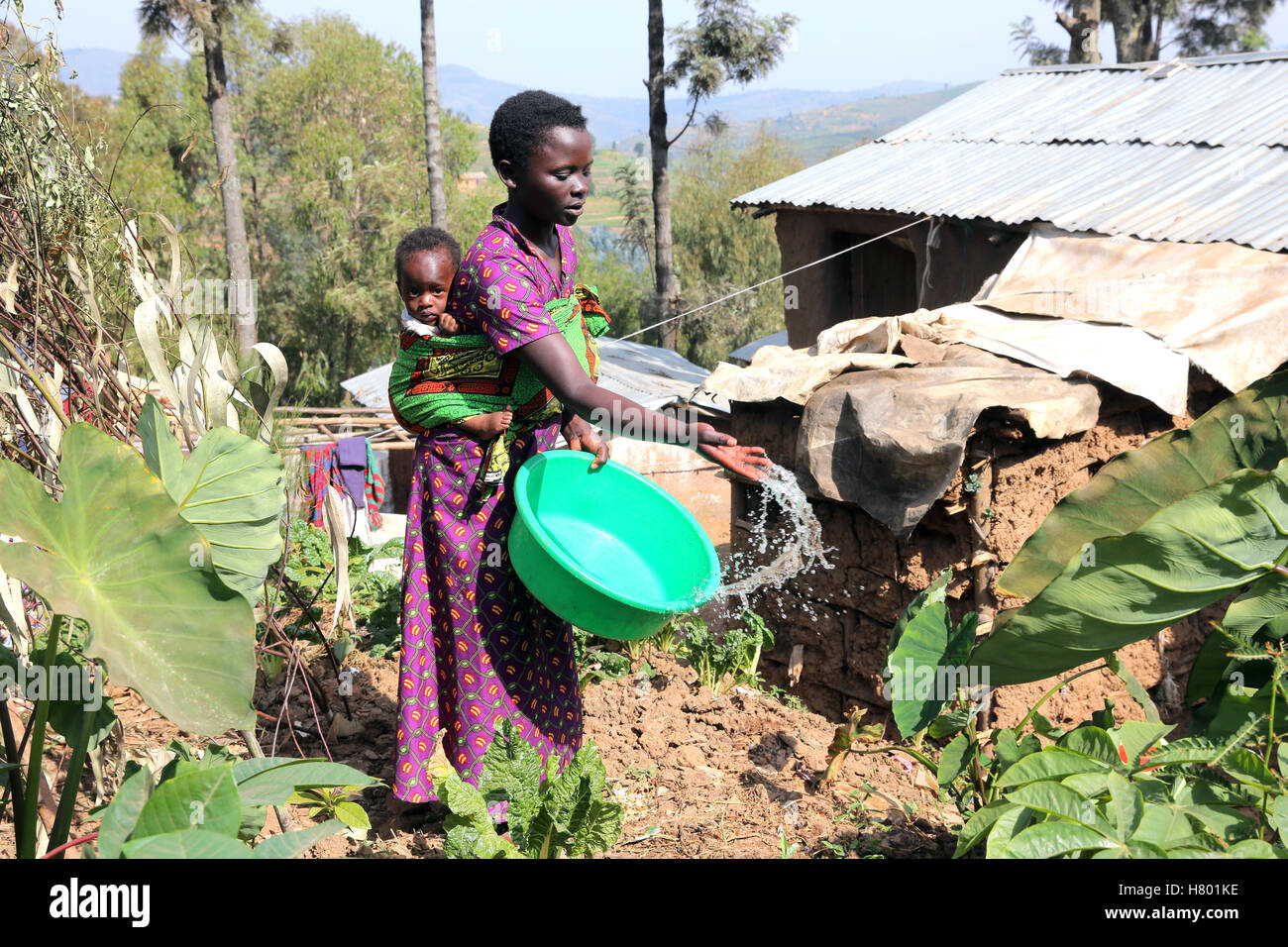 Mother (17) with her baby boy (8 month) watering her little garden. Refugees from the Congo in the UNHCR Kigeme - Stock Image