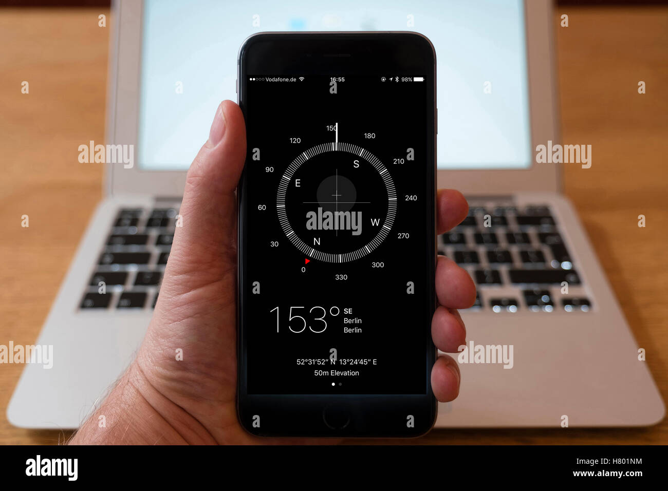 how does iphone compass work using iphone smartphone to display compass app stock photo 17028