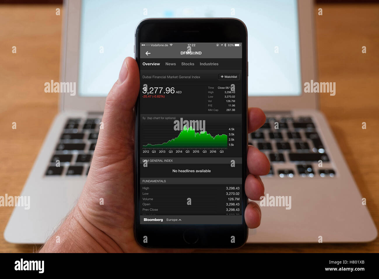 Using iPhone smartphone to display stock market performance chart for Dubai Financial Market General index - Stock Image