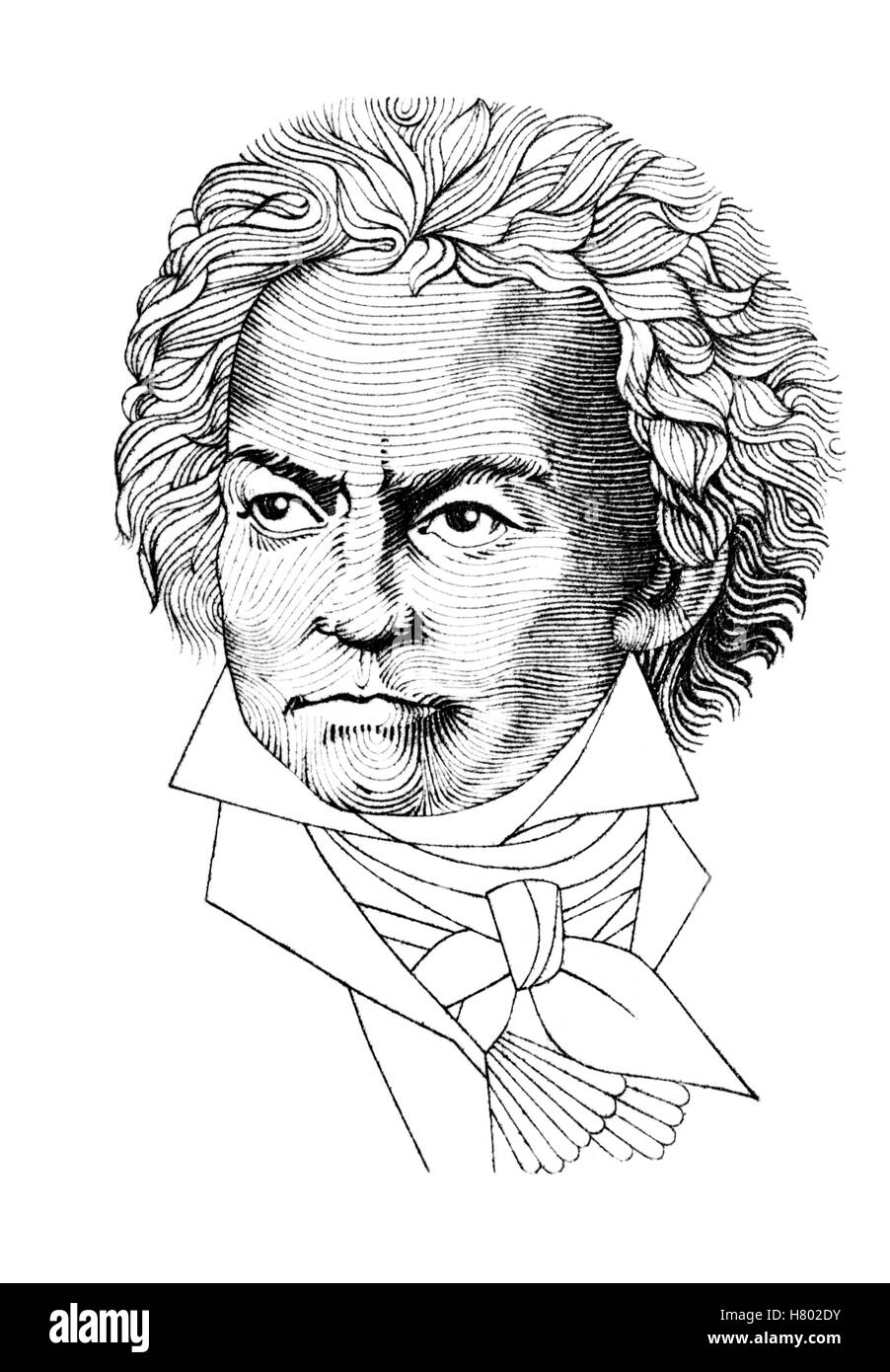 Portrait of Ludwig van Beethoven (German composer; 1770-1827) cut out from German postage stamp. - Stock Image