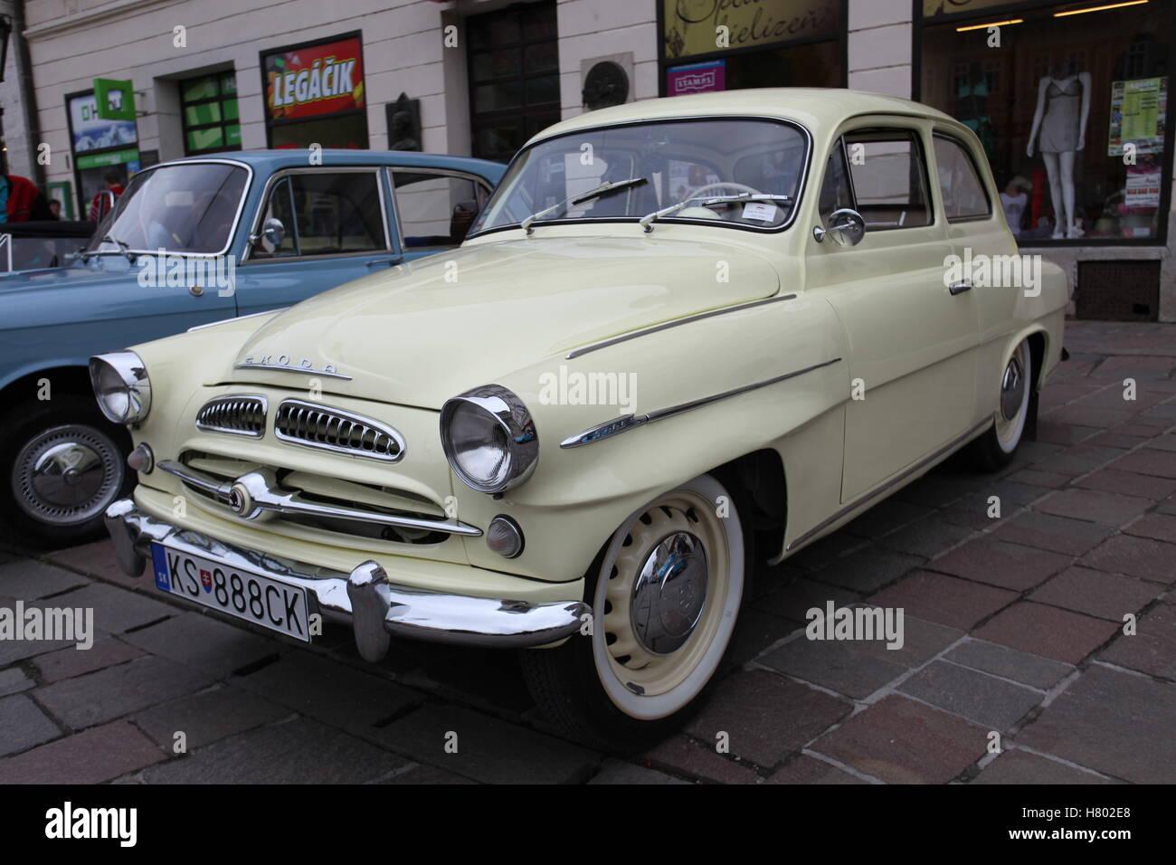 Veteran car Skoda Octavia at the Cassovia Retro Show in the historic centre of Kosice, Slovakia. - Stock Image
