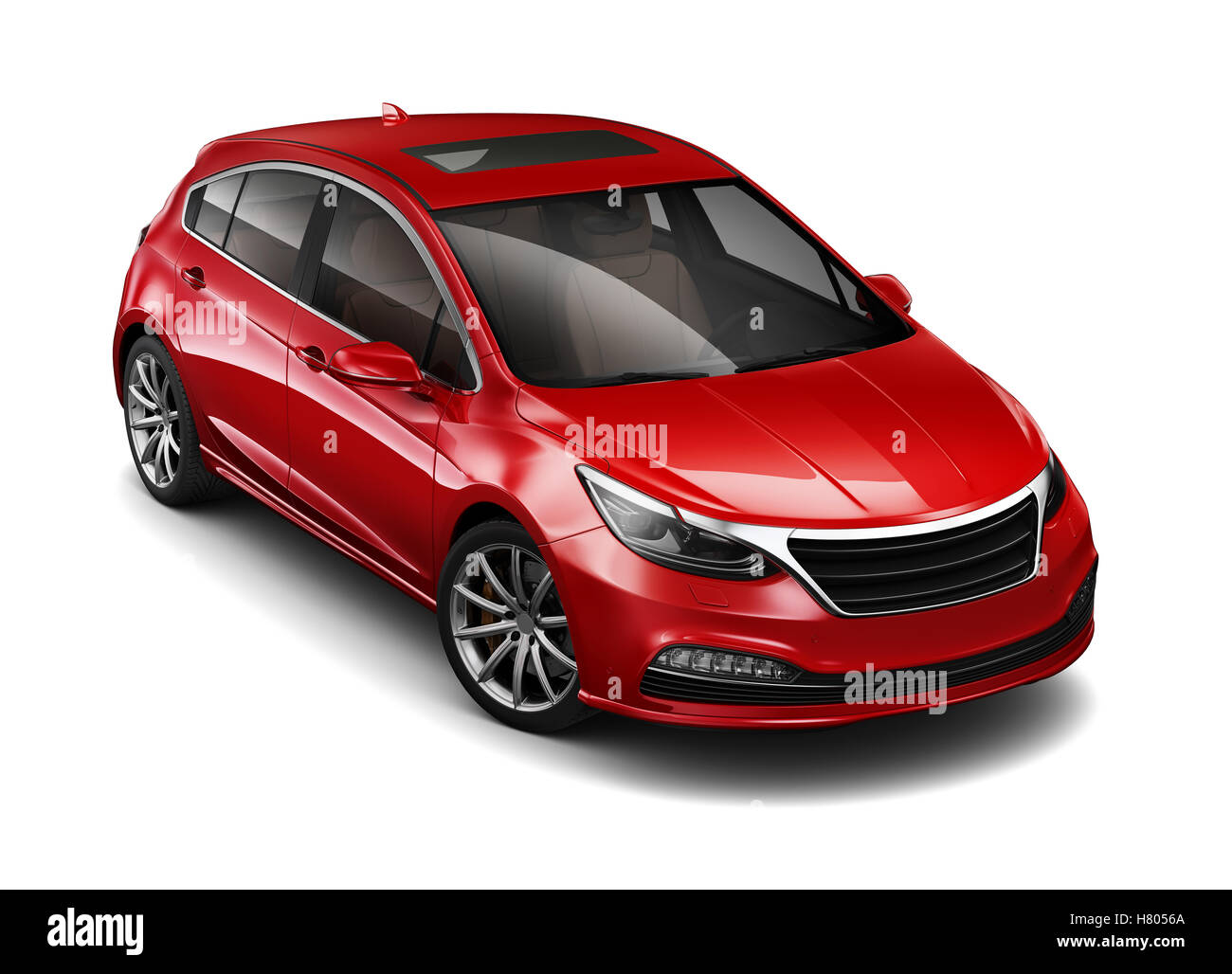Red hatchback car - Stock Image