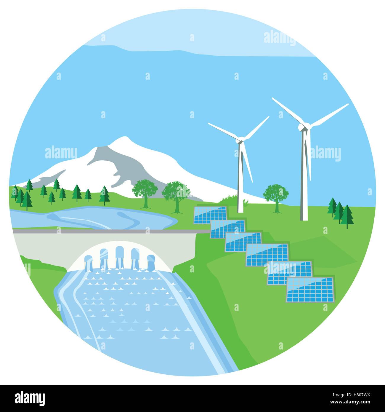 solar plant hydropower plant wind energy stock photo 125396031