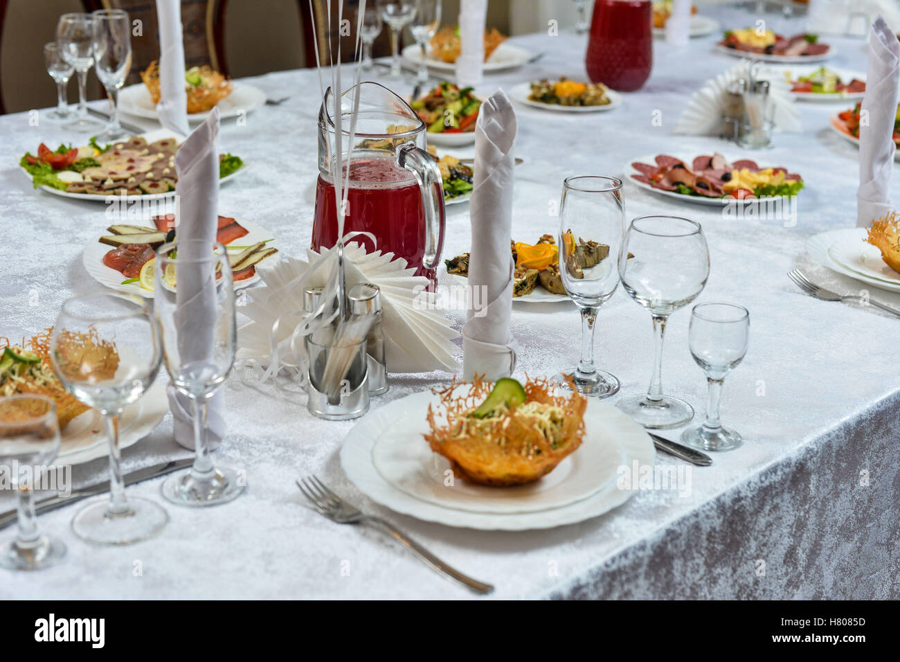 Table setting in restaurant with Greek salad and wine & Table setting in restaurant with Greek salad and wine Stock Photo ...
