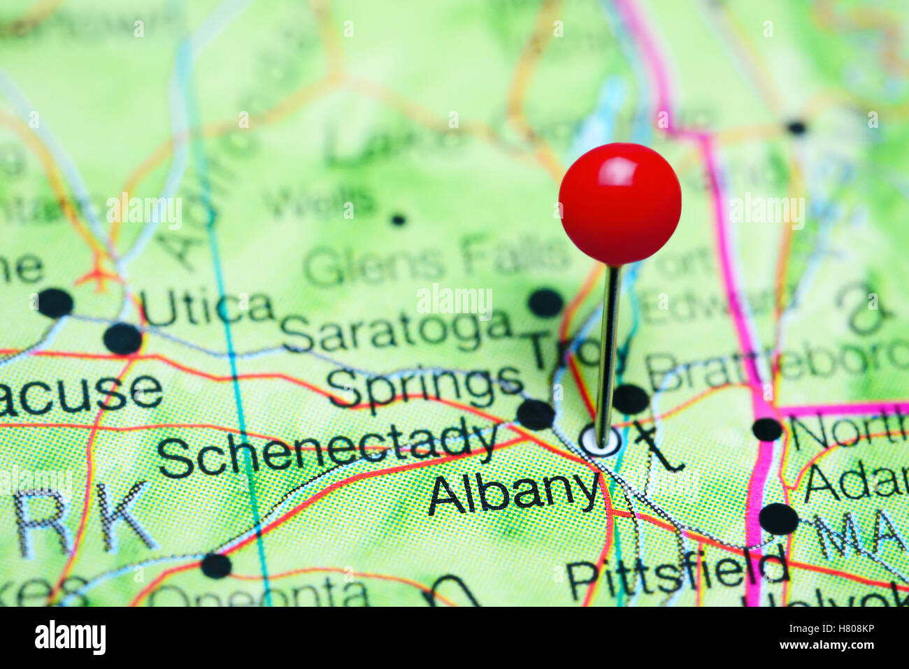 Map Of New York State Usa.Albany Pinned On A Map Of New York State Usa Stock Photo 125396650