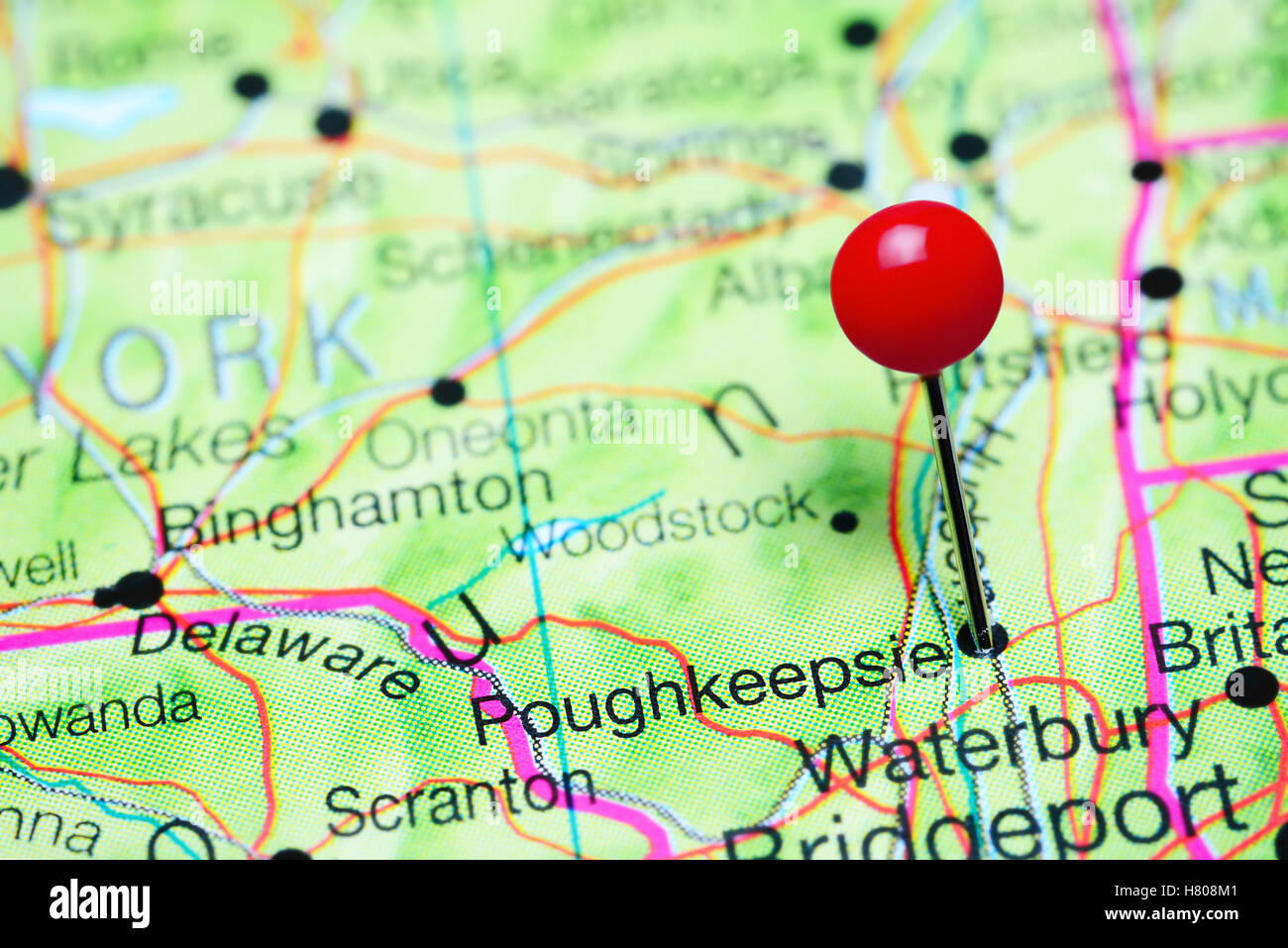 Poughkeepsie pinned on a map of New York state USA Stock Photo