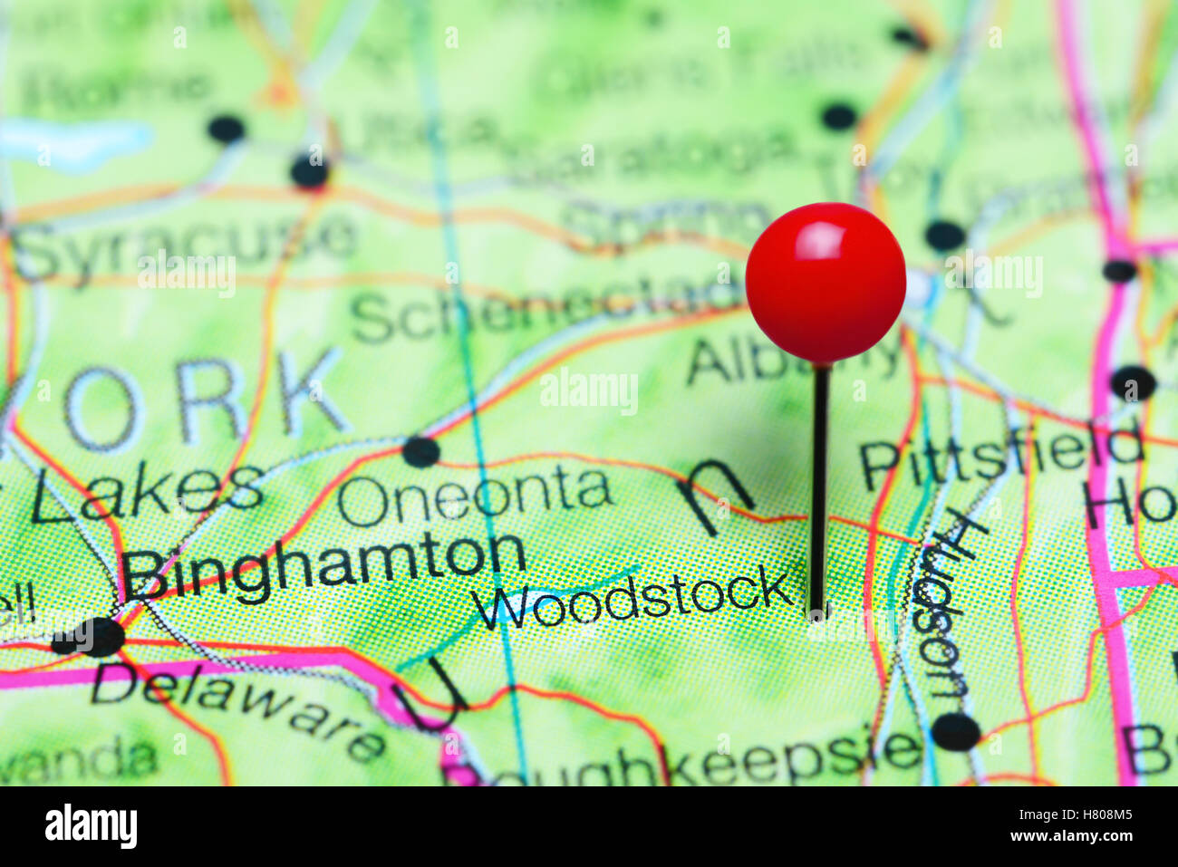 Map Of New York State Usa.Woodstock Pinned On A Map Of New York State Usa Stock Photo