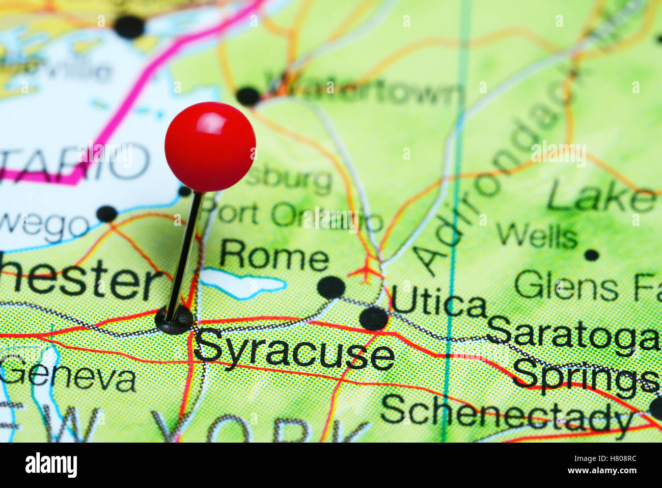 Map Of New York State Usa.Syracuse Pinned On A Map Of New York State Usa Stock Photo