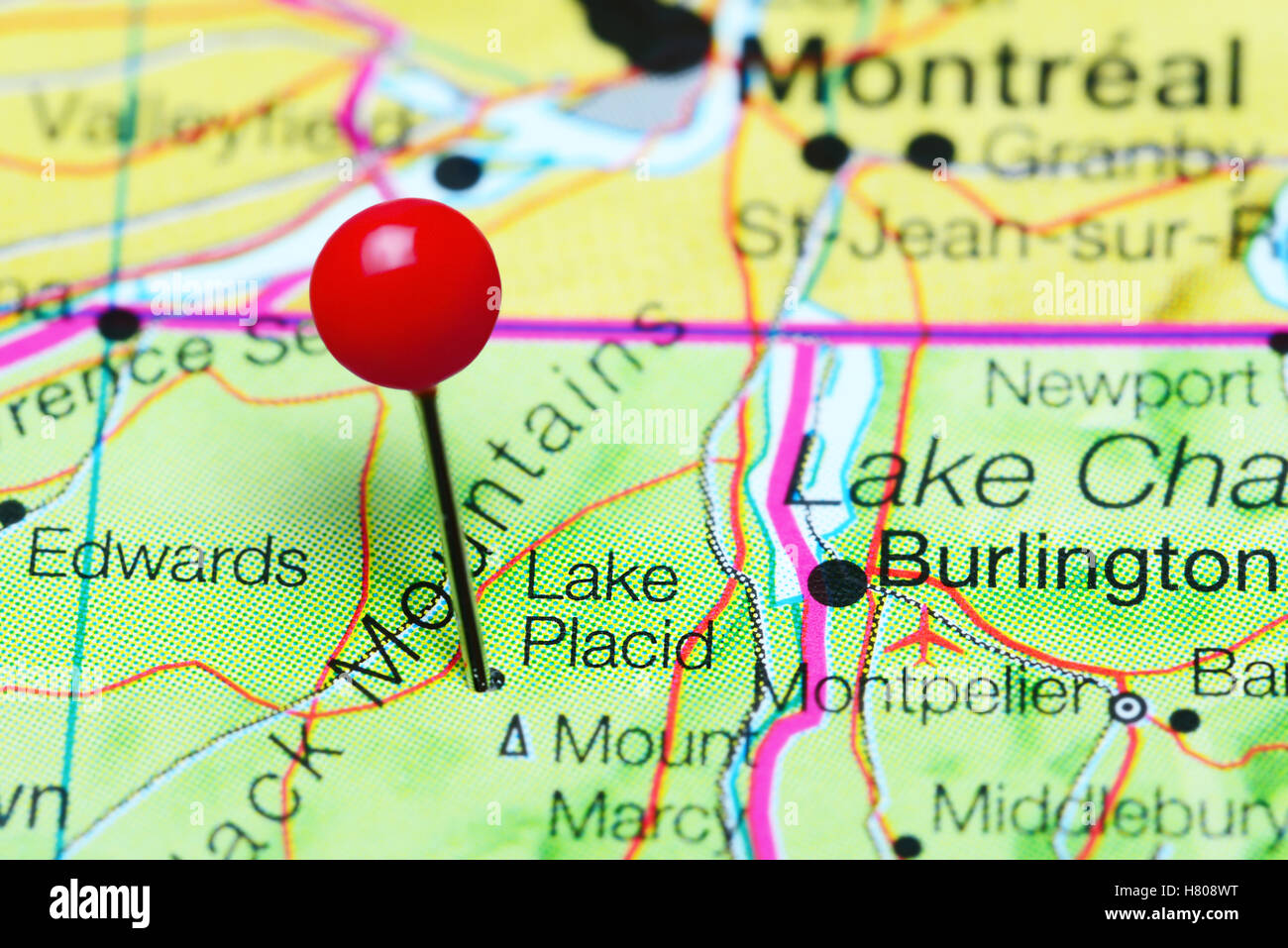 Lake Placid pinned on a map of New York state, USA Stock ...