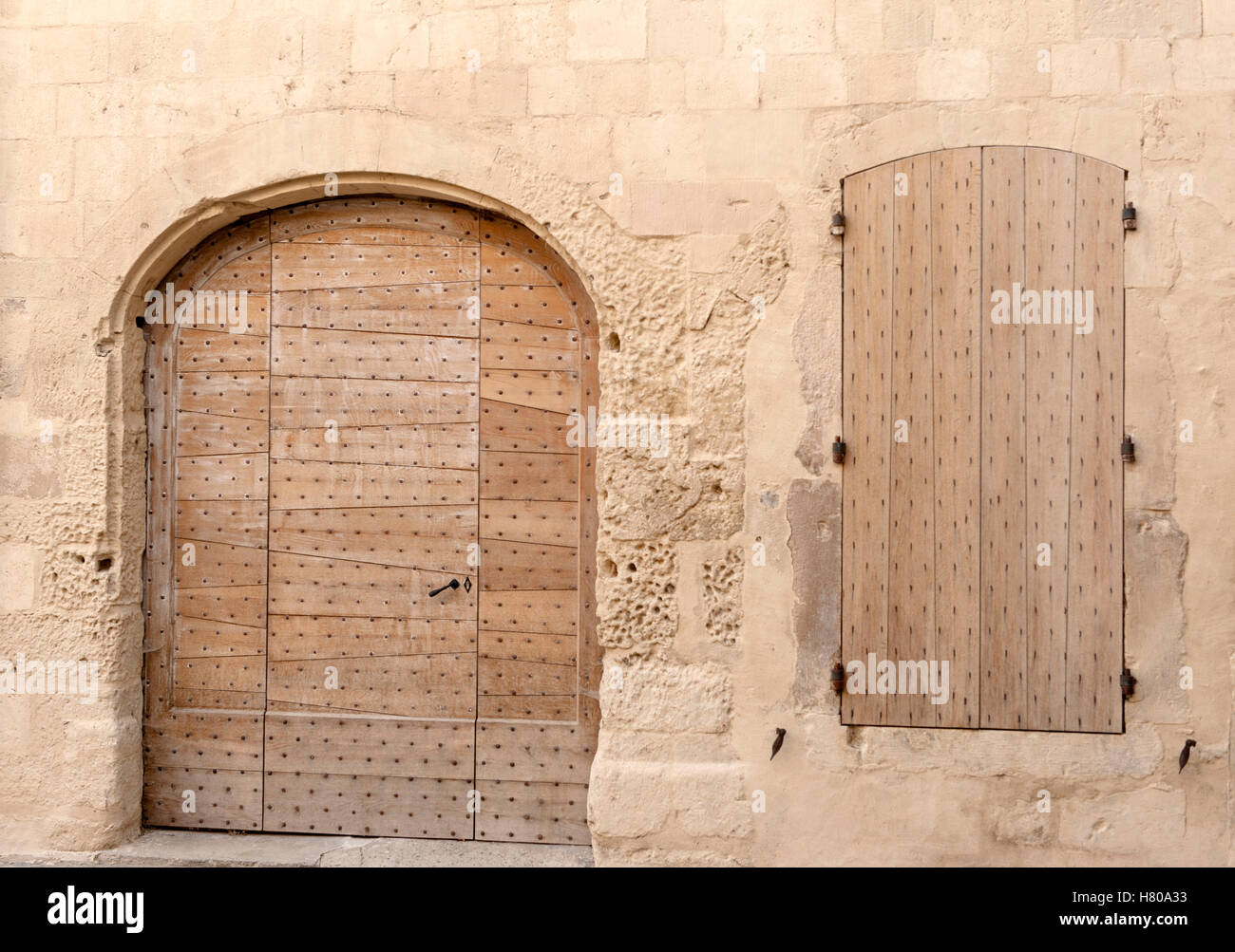 Medieval door and window shield - note the wood structure! Viviers, Ardèche, France - Stock Image
